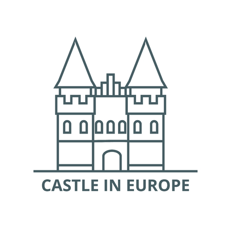 Castle in europe line icon, vector. Castle in europe outline sign, concept symbol, illustration  イラスト・ベクター素材
