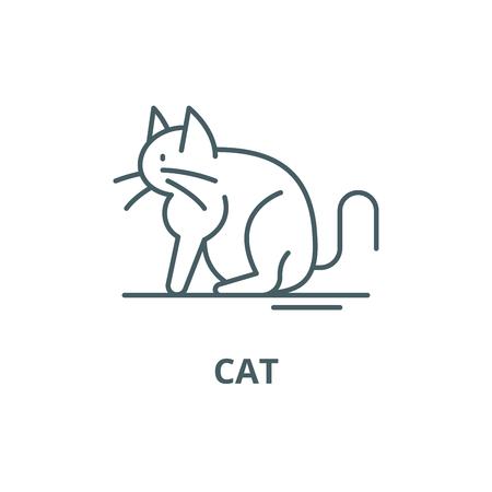Cat line icon, vector. Cat outline sign, concept symbol, illustration Çizim