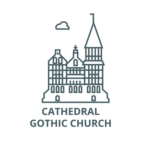Cathedral, gothic church  line icon, vector. Cathedral, gothic church  outline sign, concept symbol, illustration Illustration