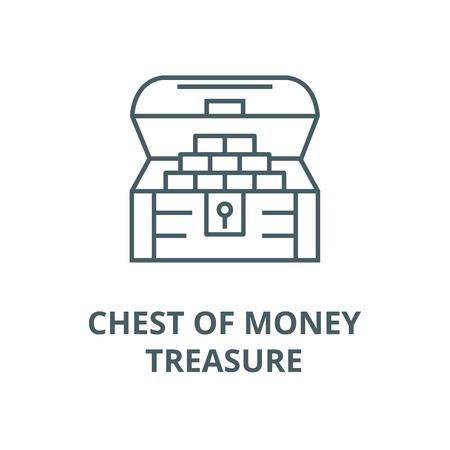Chest of money,treasure line icon, vector. Chest of money,treasure outline sign, concept symbol, illustration Stock Vector - 123749658