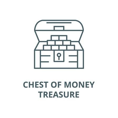 Chest of money,treasure line icon, vector. Chest of money,treasure outline sign, concept symbol, illustration