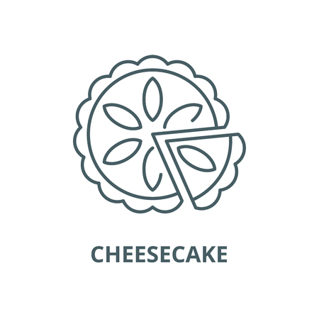 Cheesecake line icon, vector. Cheesecake outline sign, concept symbol, illustration