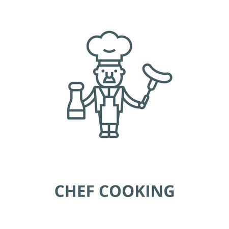 Chef cooking  line icon, vector. Chef cooking  outline sign, concept symbol, illustration Illustration