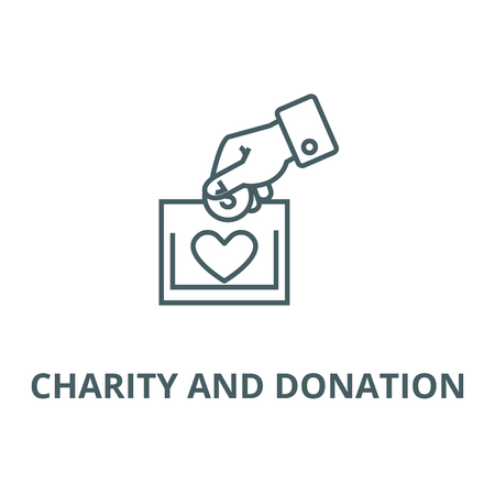 Charity and donation line icon, vector. Charity and donation outline sign, concept symbol, flat illustration Ilustracja