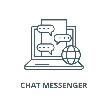 Chat messenger line icon, vector. Chat messenger outline sign, concept symbol, illustration 版權商用圖片 - 123749660