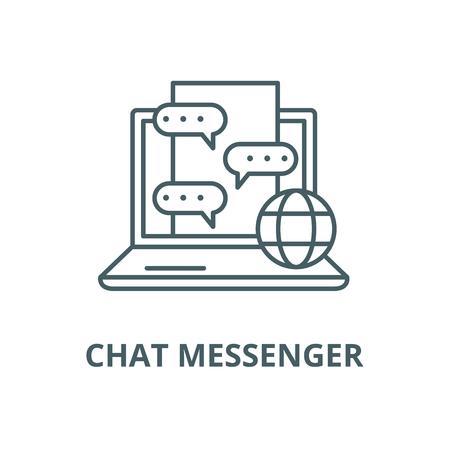 Chat messenger line icon, vector. Chat messenger outline sign, concept symbol, illustration