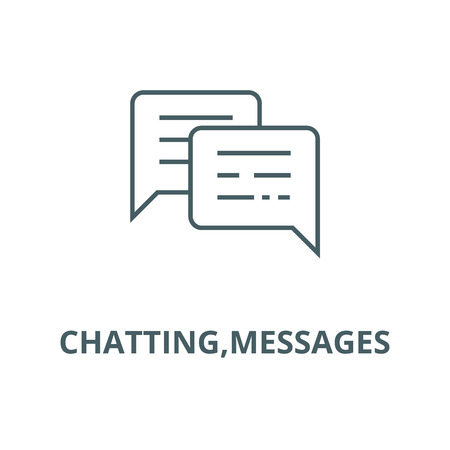 Chatting,messages line icon, vector. Chatting,messages outline sign, concept symbol, illustration