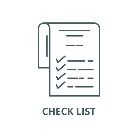 Check list line icon, vector. Check list outline sign, concept symbol, illustration Çizim
