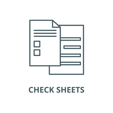Check sheets line icon, vector. Check sheets outline sign, concept symbol, illustration