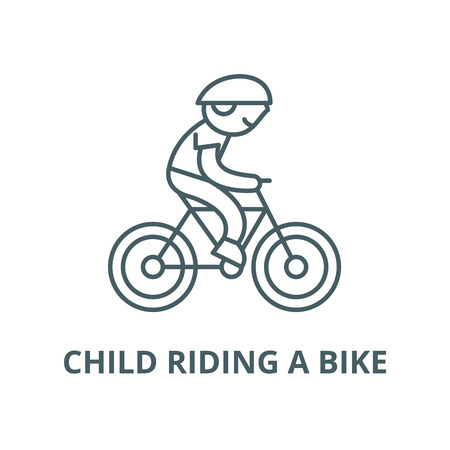 Child riding a bike line icon, vector. Child riding a bike outline sign, concept symbol, illustration