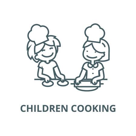 Children cooking line icon, vector. Children cooking outline sign, concept symbol, illustration