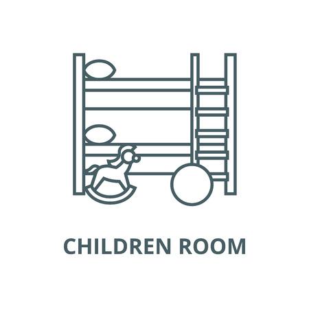 Children room line icon, vector. Children room outline sign, concept symbol, illustration Archivio Fotografico - 120719165