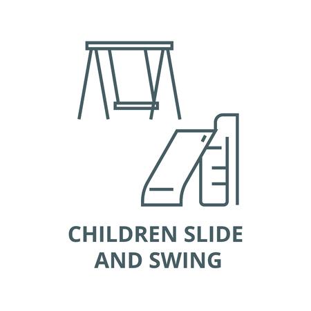 Children slide and swing line icon, vector. Children slide and swing outline sign, concept symbol, illustration Stock Illustratie