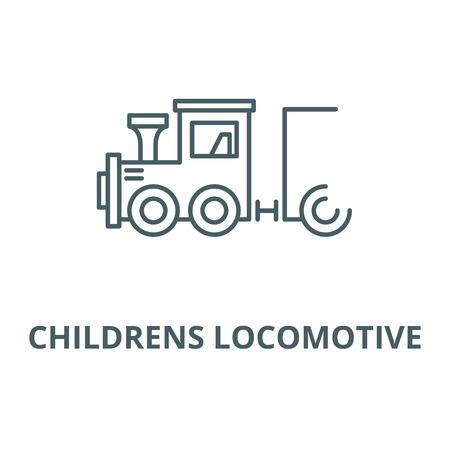 Childrens locomotive line icon, vector. Childrens locomotive outline sign, concept symbol, illustration Иллюстрация