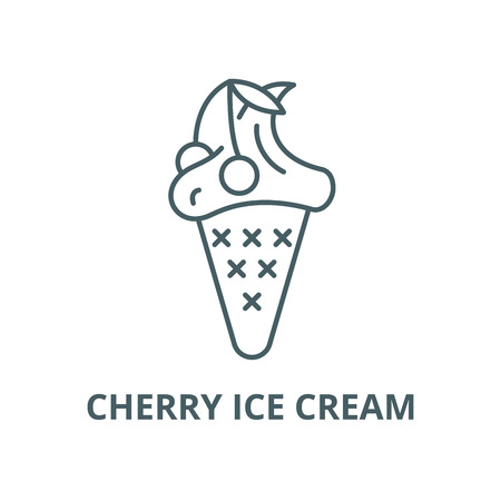 Cherry ice cream line icon, vector. Cherry ice cream outline sign, concept symbol, illustration