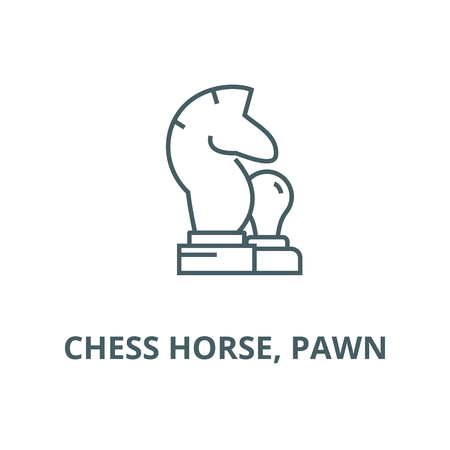 Chess horse, pawn line icon, vector. Chess horse, pawn outline sign, concept symbol, illustration