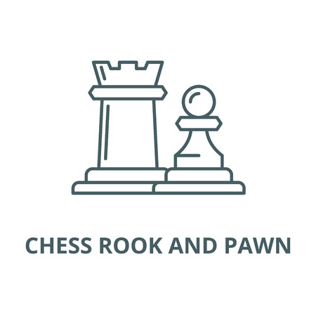 Chess pieces rook and pawn line icon, vector. Chess pieces rook and pawn outline sign, concept symbol, illustration