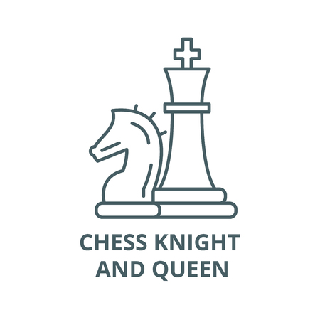 Chess pieces, knight and queen line icon, vector. Chess pieces, knight and queen outline sign, concept symbol, illustration