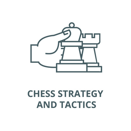 Chess strategy and tactics line icon, vector. Chess strategy and tactics outline sign, concept symbol, illustration