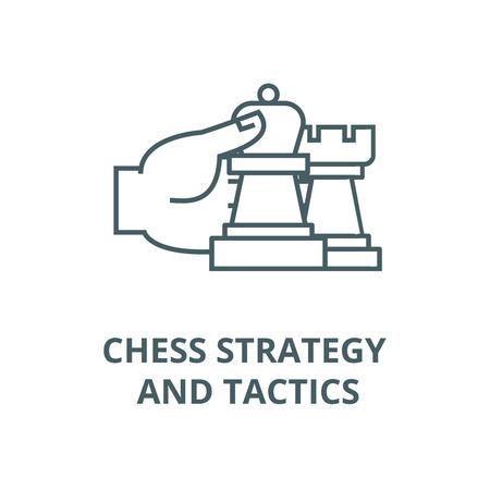 Schach-Strategie und Taktik Symbol Leitung, Vektor. Schachstrategie und -taktik skizzieren Zeichen, Konzeptsymbol, Illustration