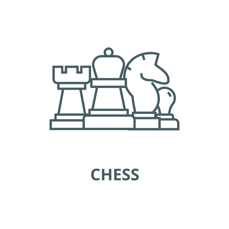 Chess, horse, rook, pawn, queen line icon, vector. Chess, horse, rook, pawn, queen outline sign, concept symbol, illustration  イラスト・ベクター素材