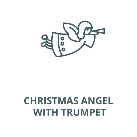 Christmas angel with trumpet line icon, vector. Christmas angel with trumpet outline sign, concept symbol, illustration