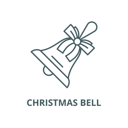 Christmas bell line icon, vector. Christmas bell outline sign, concept symbol, illustration