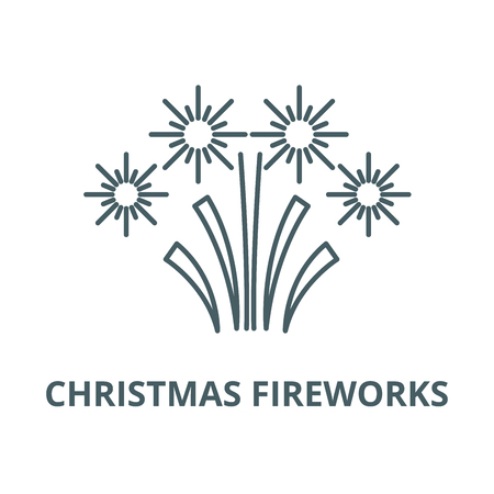 Christmas fireworks line icon, vector. Christmas fireworks outline sign, concept symbol, illustration