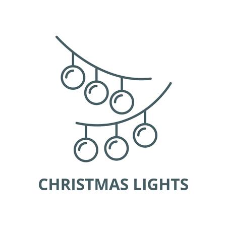 Christmas lights line icon, vector. Christmas lights outline sign, concept symbol, illustration Foto de archivo - 123749692