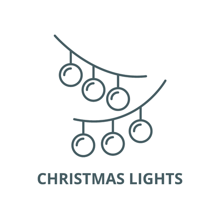 Christmas lights line icon, vector. Christmas lights outline sign, concept symbol, illustration Illustration