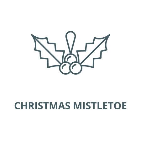 Christmas mistletoe line icon, vector. Christmas mistletoe outline sign, concept symbol, illustration Illustration