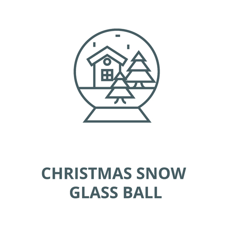 Christmas snow glass ball line icon, vector. Christmas snow glass ball outline sign, concept symbol, illustration