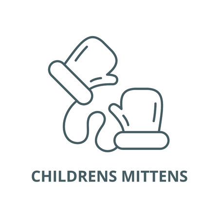 Childrens mittens line icon, vector. Childrens mittens outline sign, concept symbol, illustration Illustration