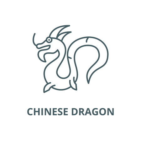 Chinese dragon line icon, vector. Chinese dragon outline sign, concept symbol, illustration