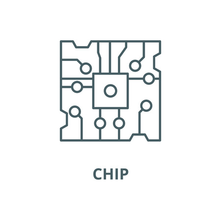 Chip line icon, vector. Chip outline sign, concept symbol, illustration