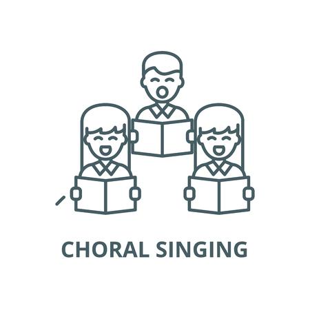 Choral singing line icon, vector. Choral singing outline sign, concept symbol, illustration 스톡 콘텐츠 - 123749702