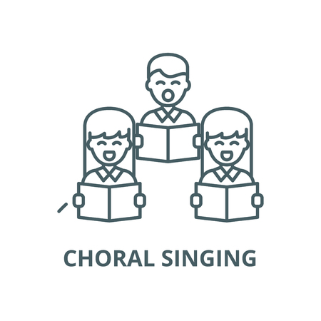 Choral singing line icon, vector. Choral singing outline sign, concept symbol, illustration