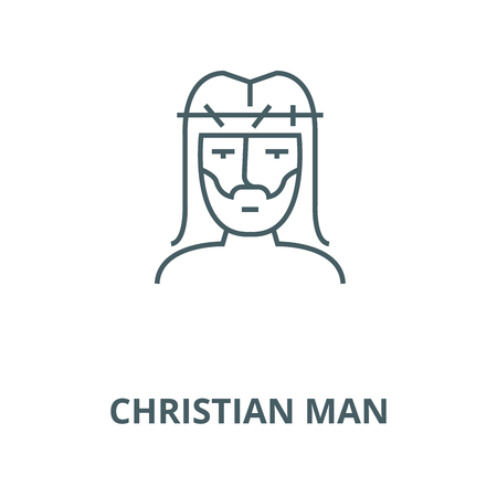 Christian man line icon, vector. Christian man outline sign, concept symbol, illustration