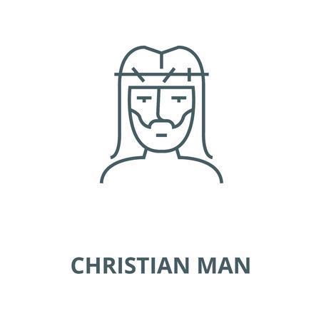 Christian man line icon, vector. Christian man outline sign, concept symbol, illustration
