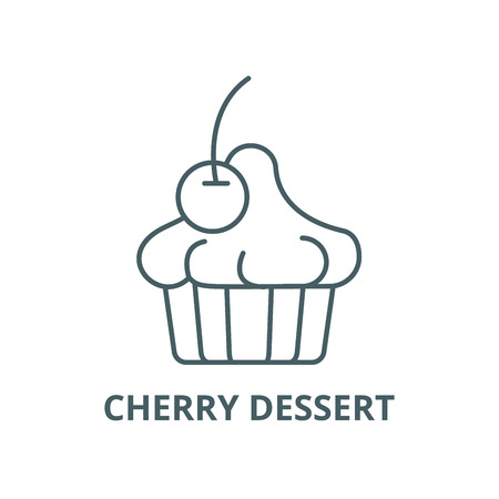 Cherry dessert line icon, vector. Cherry dessert outline sign, concept symbol, illustration Illustration