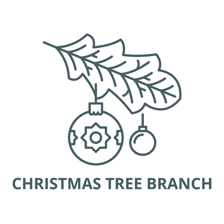 Christmas tree branch line icon, vector. Christmas tree branch outline sign, concept symbol, illustration Illustration
