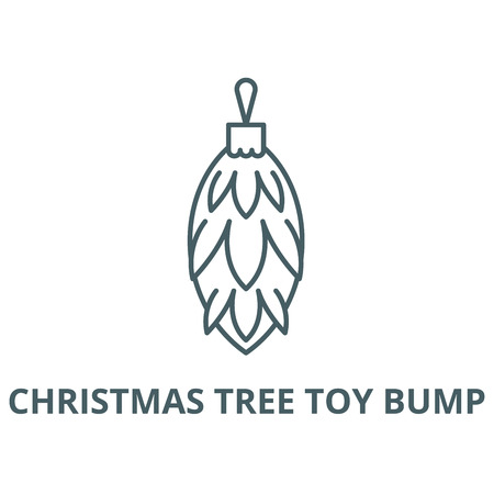 Christmas tree toy bump line icon, vector. Christmas tree toy bump outline sign, concept symbol, illustration