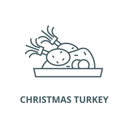 Christmas turkey line icon, vector. Christmas turkey outline sign, concept symbol, illustration Illustration