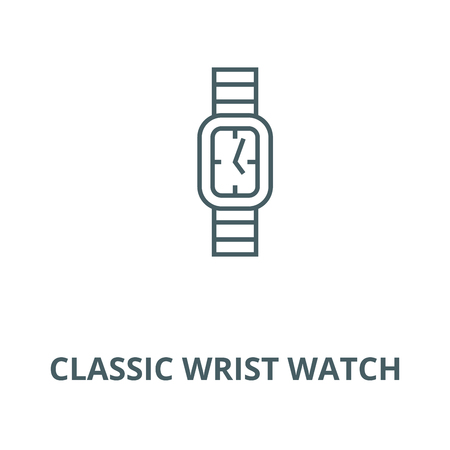 Classic wrist watch line icon, vector. Classic wrist watch outline sign, concept symbol, illustration