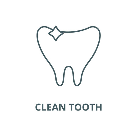 Clean tooth line icon, vector. Clean tooth outline sign, concept symbol, illustration