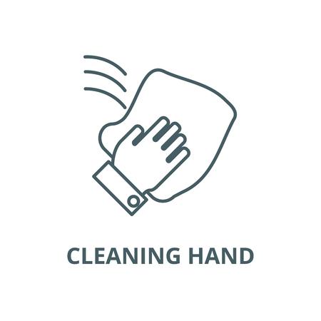 Cleaning hand, wash cloth line icon, vector. Cleaning hand, wash cloth outline sign, concept symbol, illustration Foto de archivo - 123749716