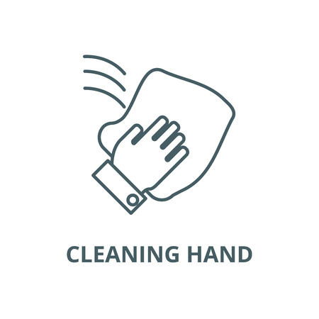 Cleaning hand, wash cloth line icon, vector. Cleaning hand, wash cloth outline sign, concept symbol, illustration Illustration