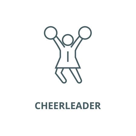 Cheerleader line icon, vector. Cheerleader outline sign, concept symbol, illustration