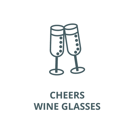 Cheers,wine glasses line icon, vector. Cheers,wine glasses outline sign, concept symbol, illustration