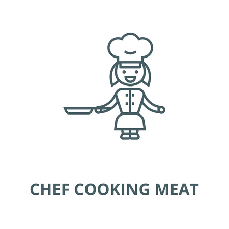 Chef cooking meat line icon, vector. Chef cooking meat outline sign, concept symbol, illustration Illustration